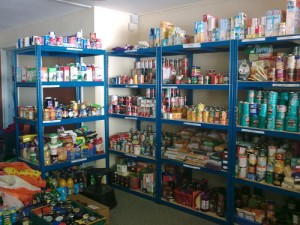 Food shelves in Winchester Basics Bank